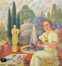 dama, rosas y jardín by agustín ezcurra