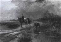 reiter beim sberqueren eines baches by johanna von astudin-meinke