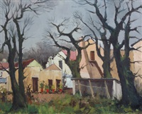 farm buildings and trees by piet (pieter gerhardus) van heerden