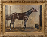 portrait du cheval merlin né en gagnant du grand prix de deauville 1895 by paul robert