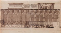 a section of king's college chapel, cambridge by william dr. stukeley