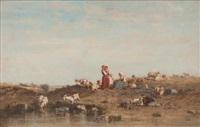 bergère en bord de mer by charles emile vacher de tournemine