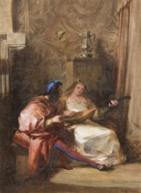 la leçon de luth by jules-robert (m. auguste) auguste