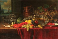 still life with fruit & lobster by eduard huber-andorf