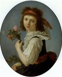 portrait de jeune fille tenant des fleurs by marie-victoire lemoine