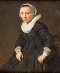 bildnis einer sitzenden jungen frau (after rembrandt) by johann baptist goestl
