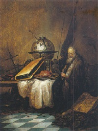a vanitas still life with a globe, book an hourglass and others objects on a table, with old man seated beside it by petrus schotanus