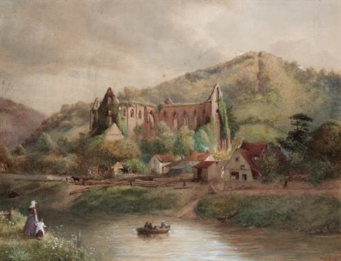 view of tintern abbey (view of bolton abbey; 2 works) by henry gales