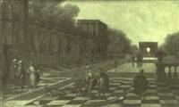 personnages conversant devant un palais classique by jacobus balthasar peeters