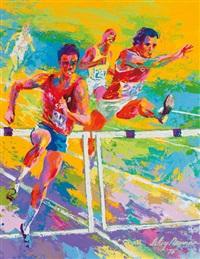 olympic hurdlers by leroy neiman