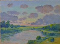 coucher de soleil sur la seulles by pierre-edmond peradon