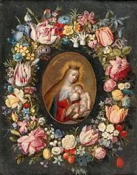 couronne de fleurs entourant une vierge allaitant by jan brueghel the younger