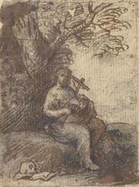 marie-madeleine assise contre un arbre by claude lorrain