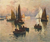 fishing boats at dusk, concarneau by fernand marie eugène legout-gérard