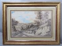 paysage avec un porteur de fagot by lucas van uden
