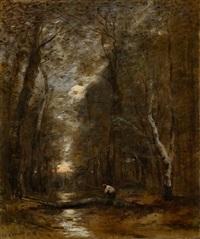 sous bois - un tronc d'arbre abattu en travers d'un ruisseau by jean-baptiste-camille corot