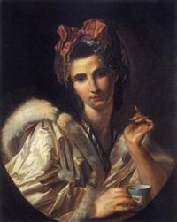 portrait d'une femme à la tasse by claude arnulphy