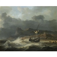 a mountainous coastal landscape with a ship beached in a storm, figures gathering cargo to the right by aernout (johann arnold) smit
