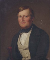 portrait of a gentleman, half-length, with a striped waist coat and black neck-tie by adolf henning