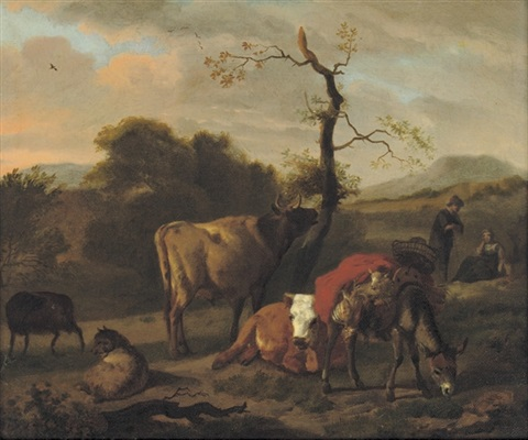 cows sheep and a donkey in a landscape by dirk van bergen