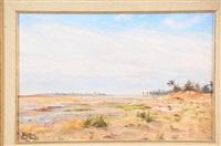 paysage orientaliste près de biskra by paul françois louchet