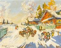 sledding by konstantin alexeievitch korovin