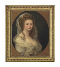 portrait of countess lucia memmo mocenigo (1770-1854), half-length, in a white dress and shawl, in a feigned oval by angelika kauffmann