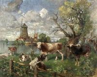 küstenlandschaft mit windmühle und weidenden kühen by paul burmeister