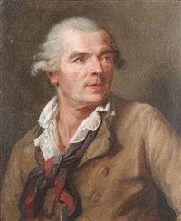 portrait of a gentleman, bust-length, in a buff coloured coat with a white chemise and a blue and red neckerchief by jean françois gilles colson