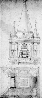 the elevation and ground plan of a tomb with allegorical figures by antonio da sangallo the younger