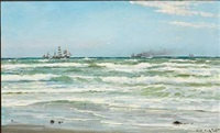 summer day with ships off skagen by carl ludvig thilson locher