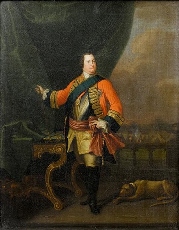 portrait of william augustus duke of cumberland in military uniform standing in a loggia before a military encampment by david morier