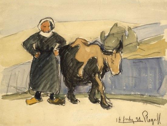 scènes bretonnes plogoff paysanne et sa vache 2 others various sizes 3 works by maurice le scouezec