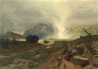 mönch in weiter landschaft (monte cassino?) by rudolf huthsteiner