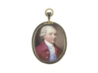 a gentleman, wearing crimson coat and pale blue waistcoat, white stock and lace cravat, his powdered wig worn en queue and tied with black ribbon by henry spicer