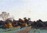 le chemin au bord du hameau by leon germain pelouse