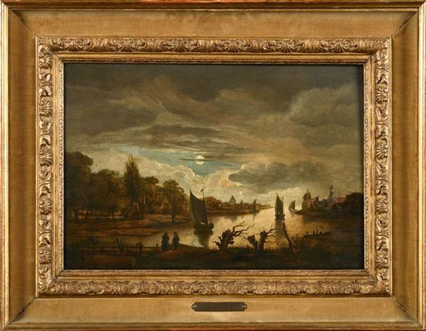 scène fluviale by aert van der neer