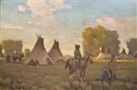 indian camp scene by steve seltzer