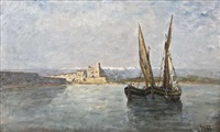 mediterranean harbour scene by nathaniel hone the younger