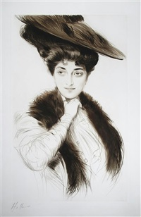 an elegant lady in a hat and fur-trimmed coat by paul césar helleu