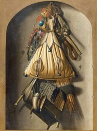 trompe-l'oeil aux accessoires du fauconnier by antonius leemans