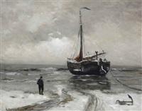 a bomschuit anchored in winter by gerhard arij ludwig morgenstjerne munthe