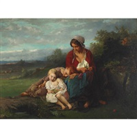 mother and children resting in a field by henry campotosto