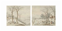 hunters in a winter landscape with skaters beyond; woodcutters beside a forge in a winter landscape (pair) by johann jakob hoch