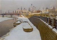 view of the kremlin from the embankment of the moskva river by mikhail markianovich germanshev