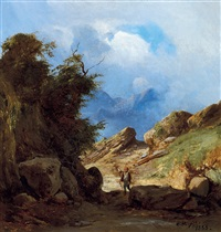 wanderer in italian landscape by karoly marko the younger
