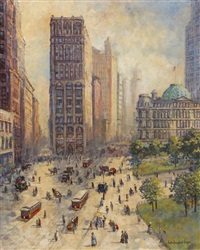 new york street scene by colin campbell cooper