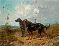 two retrievers in a landscape by rudolf feodorovich frentz