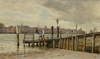 view of dordrecht on the maas holland by edward james roger