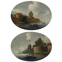 a river estuary with a fortified village on the left bank (+ a fortified town by a river with fishermen hauling in their nets; pair) by frans de hulst